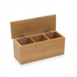 Boite à thé 3 compartiments bambou petit modèle