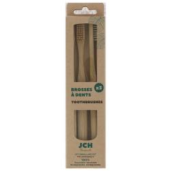 Lot de 3 brosses à dents bambou et poils en fibres de bambou